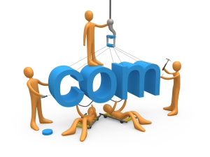 Team Of Orange People Constructing The Word Com, Symbolizing A Website Under Construction Clipart Illustration Graphic